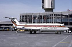 A British Airways Island BAC One-Eleven repülőgépe.