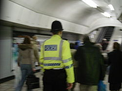 A BTP officer patrolling the London Underground