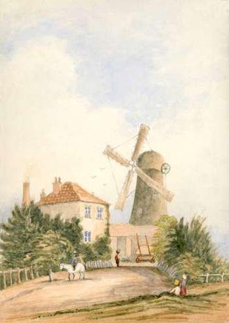 Ashby's Mill - Painting of mill, c.1820