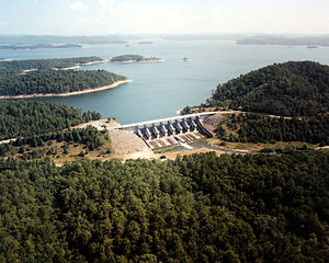 Aerial view of the spillway at Broken Bow Dam ...