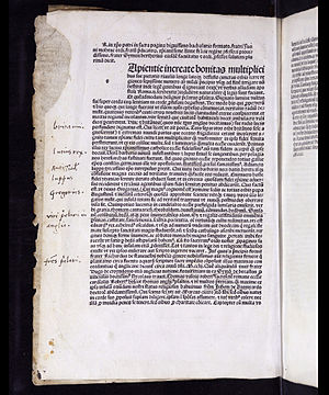 John Bromyard - Opening page from Opus trivium with margin notes in a sixteenth-century hand