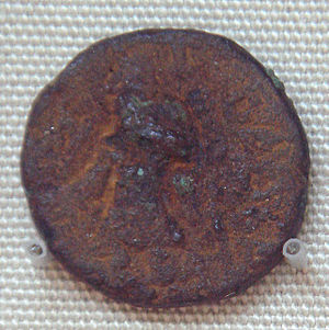 Kanishka - Bronze coin of Kanishka, found in Khotan, modern China.