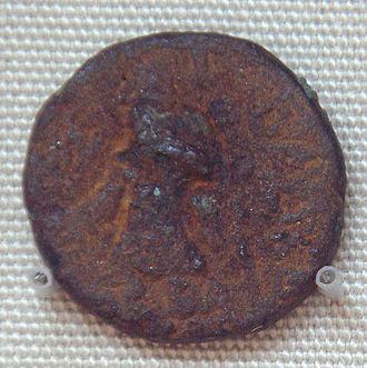 Kanishka - Bronze coin of Kanishka, found in Khotan, modern China.