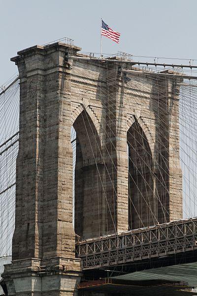 File:Brooklyn Bridge, west tower (7433306334).jpg