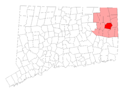 Location within Windham County, Connecticut