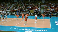 Bulgarian national volleyball team in the match against Japan in the FIVB World League 2011.jpg