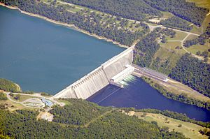 Bull Shoals-White River State Park - Aerial view of Bull Shoals Dam, with the park visitors' center visible at the bottom of the image.