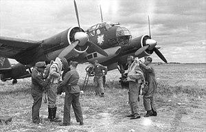 """Kampfgeschwader 51 - Junkers Ju 88 A-1 of Kampfgeschwader 51 (I./KG 51) """"Edelweiß"""" before take-off"""