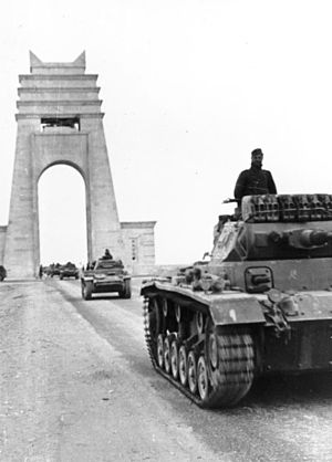 Libyan Coastal Highway - The Via Balbia at the Marble Arch with German Panzer III tanks (1941)