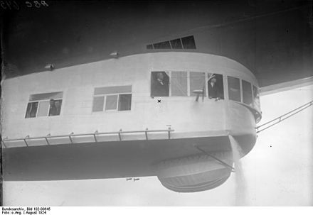 Eckener (marked with an x) test flying the LZ 126 in August before delivery to the United States in October 1924 Bundesarchiv Bild 102-00645, Probefahrt des Zeppelin-Luftschiffes Z.R. III.jpg