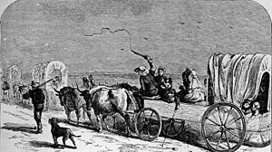 New Braunfels, Texas - German immigrants on the way to New Braunfels (1844)