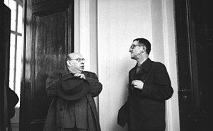 Galileo (1975 film) - Hanns Eisler (left) and Bertolt Brecht, his close friend and collaborator, East Berlin, 1950.
