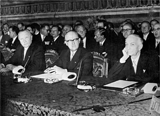 European Atomic Energy Community - April 1, 1957, Konrad Adenauer, Walter Hallstein and Antonio Segni, signing the European customs union and Euratom in Rome, Italy.