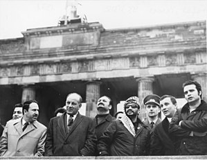 Yasser Arafat - Yasser Arafat visits East Germany in 1971; background: Brandenburg Gate