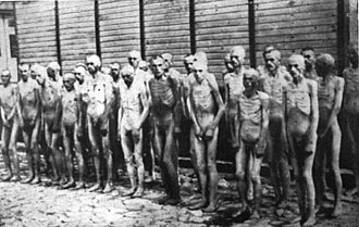 Holocaust victims - Naked Soviet prisoners of war in Mauthausen concentration camp.
