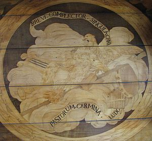 Cesare Ripa - Sentences of the Iconologia illustrating the Bureau du Roi (King's Desk or Louis XV's roll-top secretary) marquetry in the Palace of Versailles