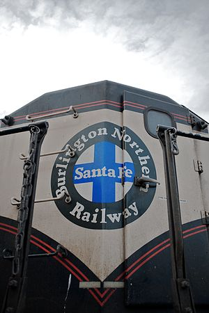 BNSF Railway - The BNSF 'heritage' logo found on an EMD SD70MAC. The colors of the logo represented the railroads that are part of BNSF