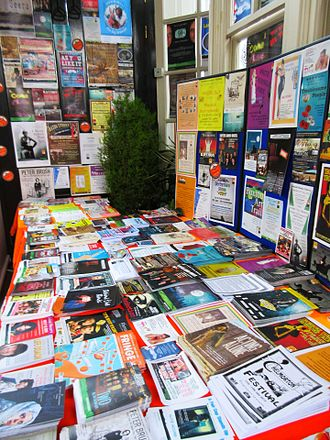 Buxton Festival - Poster and flyers at the Buxton Festival Fringe information desk, 2015.