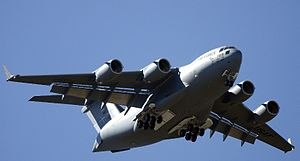 English: Commandant of cadets flies new C-17 G...