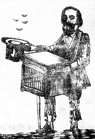 "Românul - C. A. Rosetti as a busker, playing the tune of ""Red"" politics (anonymous pamphlet of 1867)"