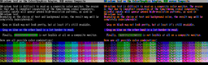 Color Graphics Adapter - 80-column text on RGB (left) vs. composite monitor (right)