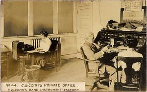 Charles G. Conn - C.G. Conn in his office, March 1910.