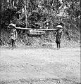 COLLECTIE TROPENMUSEUM Een varken wordt hangend aan een stok vervoerd Bali TMnr 10013947.jpg