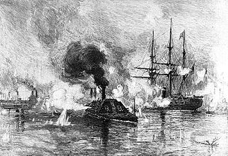 CSS Arkansas - Arkansas running through the Federal fleet above Vicksburg, Mississippi, on 15 July 1862