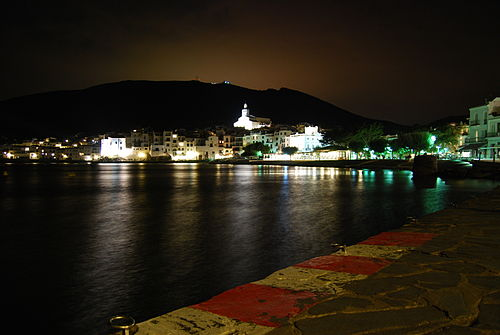 Shoreline of Cadaqués at night