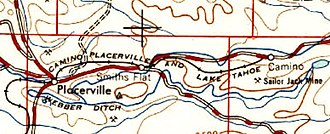 Camino, Placerville and Lake Tahoe Railroad - Route in 1947