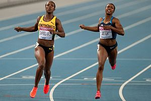 2011 World Championships in Athletics – Women's 200 metres - The finish of the women's 200 metre race at Daegu, Veronica Campbell-Brown ahead of Carmelita Jeter.