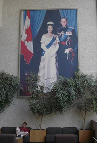 Canadian royal symbols - Hanging in a Canadian courthouse, a large portrait of Queen Elizabeth II with Prince Philip