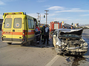 Car crash in Thessaloniki, Greece.