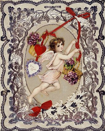 An English Victorian era Valentine card located in the Museum of London Card; valentine card - Google Art Project.jpg