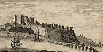 Carmarthen Castle - Carmarthen Castle and River Towy, a print by Thomas Pennant (1781)