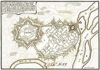 Citadel - In this seventeenth-century plan of the fortified city of Casale Monferrato the citadel is the large star-shaped structure on the left.