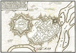 In this seventeenth-century plan of the fortified city of Casale Monferrato the citadel is the large star-shaped structure on the left.