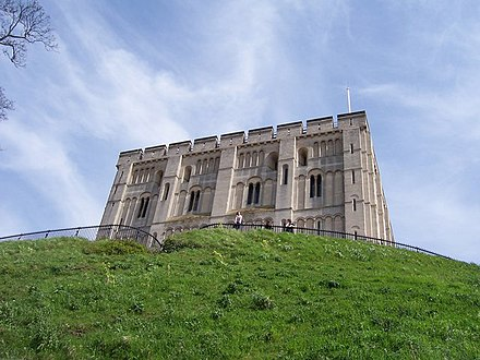 Norwich Castle. The keep dates to after the Revolt of the Earls, but the castle mound is earlier. Castle Mound - Norwich - geograph.org.uk - 780624.jpg