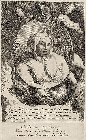 "Affair of the Poisons - Catherine Deshayes, ""La Voisin"", 17th-century print of her portrait held by a winged devil."