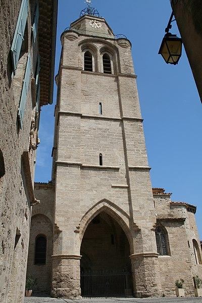 Caux (Hérault) - Clocher-porche (XIIIe-XIVe siècles) de Saint-Gervais-et-Protais.
