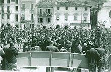 Il comizio del 3 maggio 1950 in piazza IV Novembre