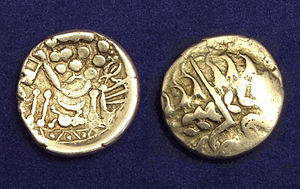 Durotriges - British Celts, gold stater from the Durotriges. Chute type with strongly Celticized, disjointed horse right and abstract head of Apollo.
