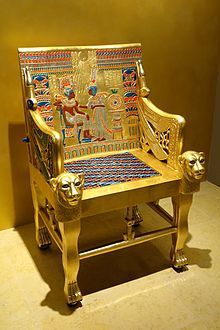 Chair from tomb of Tutankhamun, reproduction - Fitchburg Art Museum - DSC08613.JPG