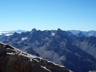 Aiguille de Chambeyron - The Chambeyron Massif, with Aiguille de chambeyron near left