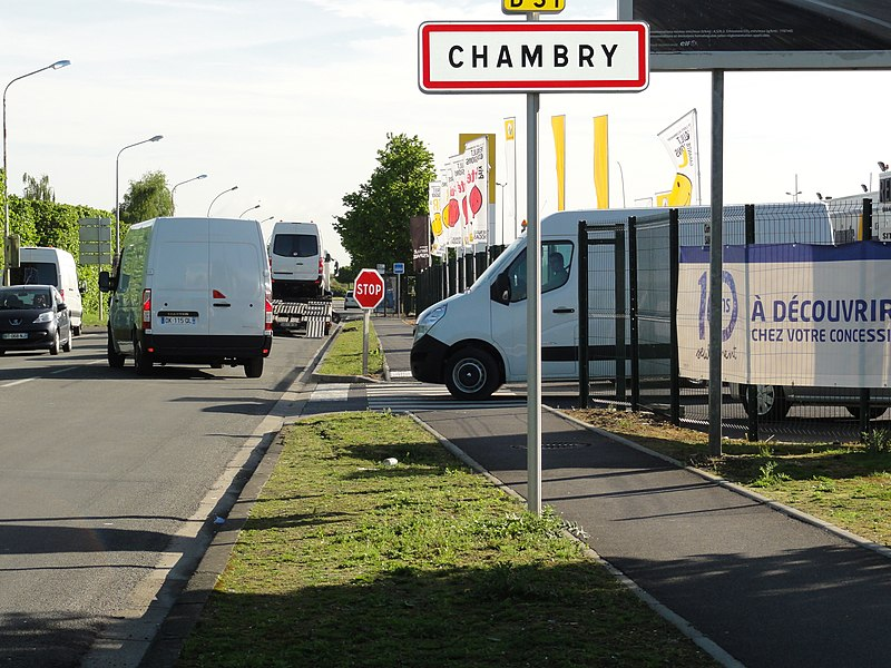 Chambry (Aisne) city limit sign