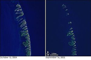 Chandeleur Islands - The left image is from 2004 and the right is after Hurricane Katrina, showing the reduction of the islands.