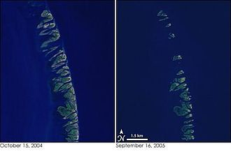 Chandeleur Sound - The left image is from before Hurricane Katrina and the right is from after, showing the reduction of the islands and exposure of the Sound to the Gulf.