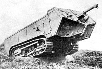 Saint-Chamond (tank) - The Char Saint-Chamond showing the overhanging front hull and the later M.1897 75 mm field gun