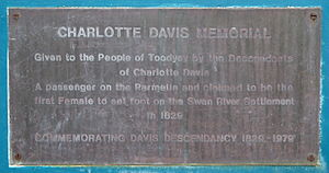 Parmelia (barque) - Image: Charlotte Davis Memorial Plaque