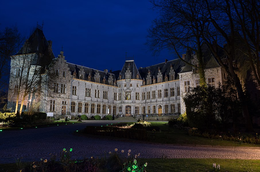 Ham-Sur-Heure Castle and City Hall Front View by Night